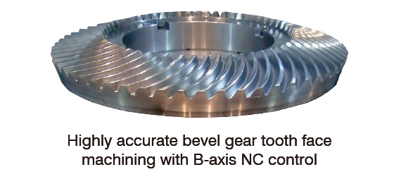 Highly accurate bevel gear tooth face machining with B-axis NC control