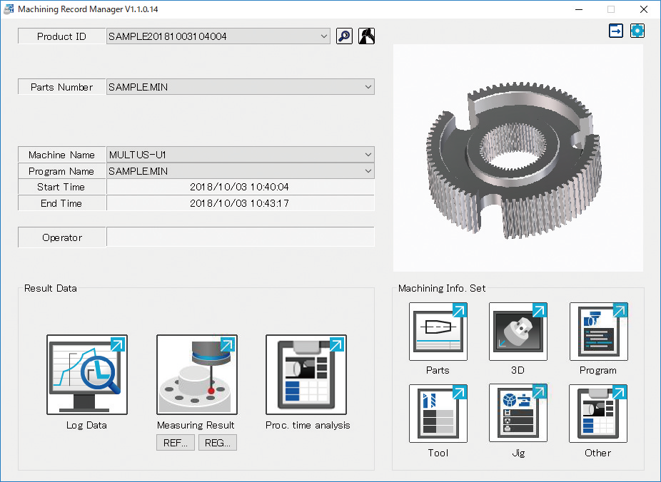 Machining records management monitor
